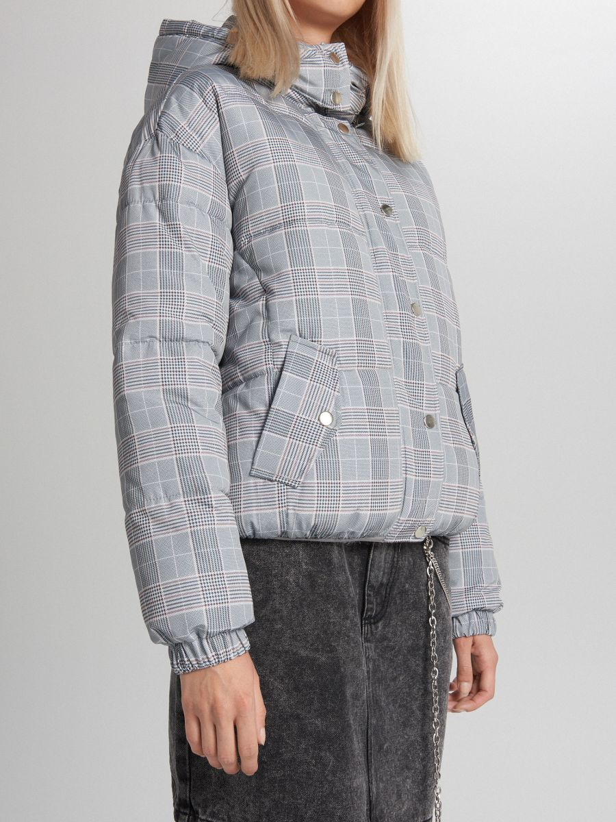 Объемная куртка в клетку - светло-серый - WB865-09X - Cropp - 3