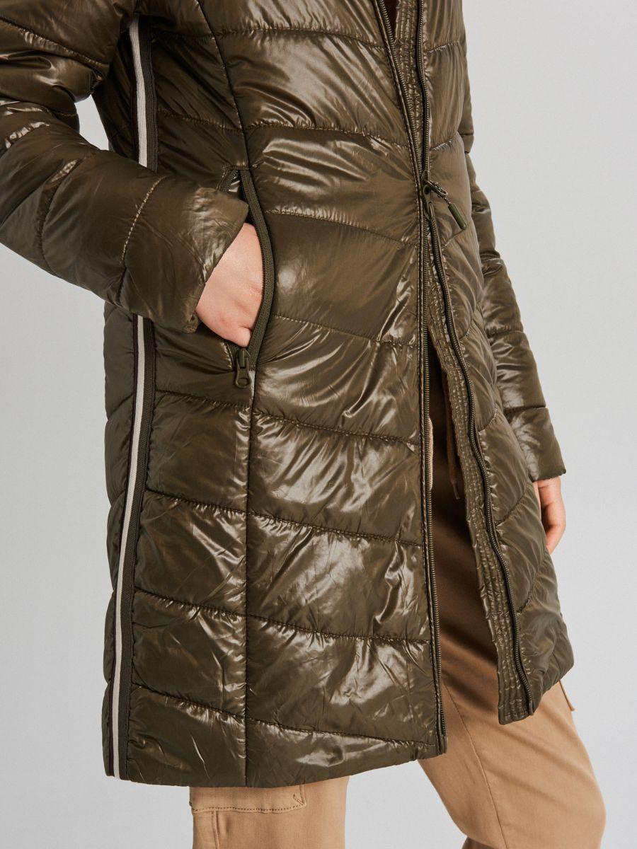 Стеганая куртка с капюшоном - хаки - WB875-78X - Cropp - 4