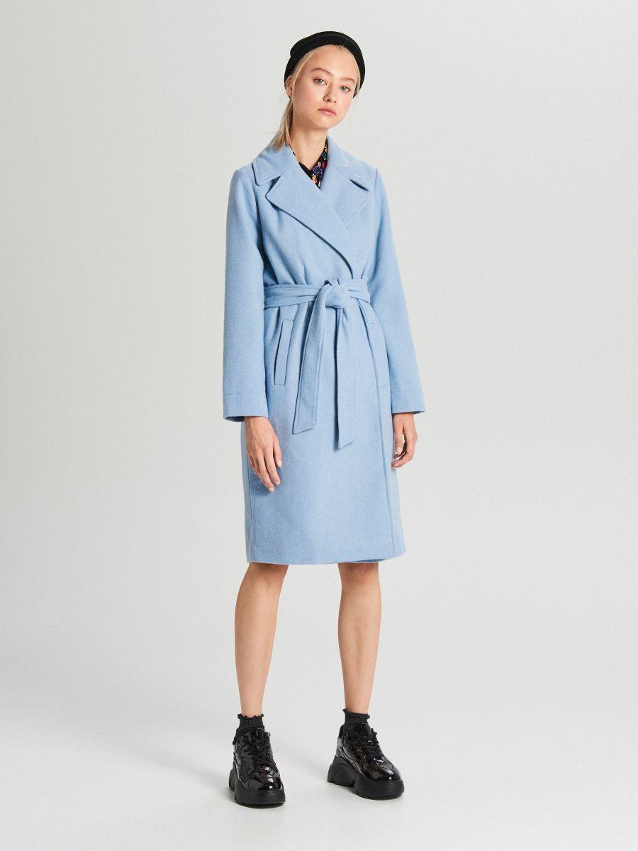 Классическое полушерстяное пальто - голубой - WB883-50X - Cropp - 1
