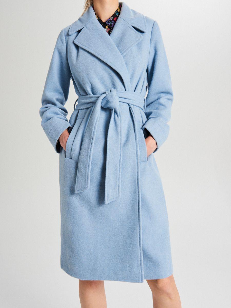 Классическое полушерстяное пальто - голубой - WB883-50X - Cropp - 3