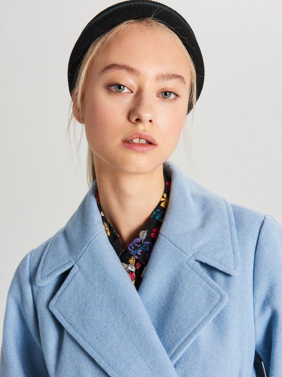 Классическое полушерстяное пальто - голубой - WB883-50X - Cropp - 5