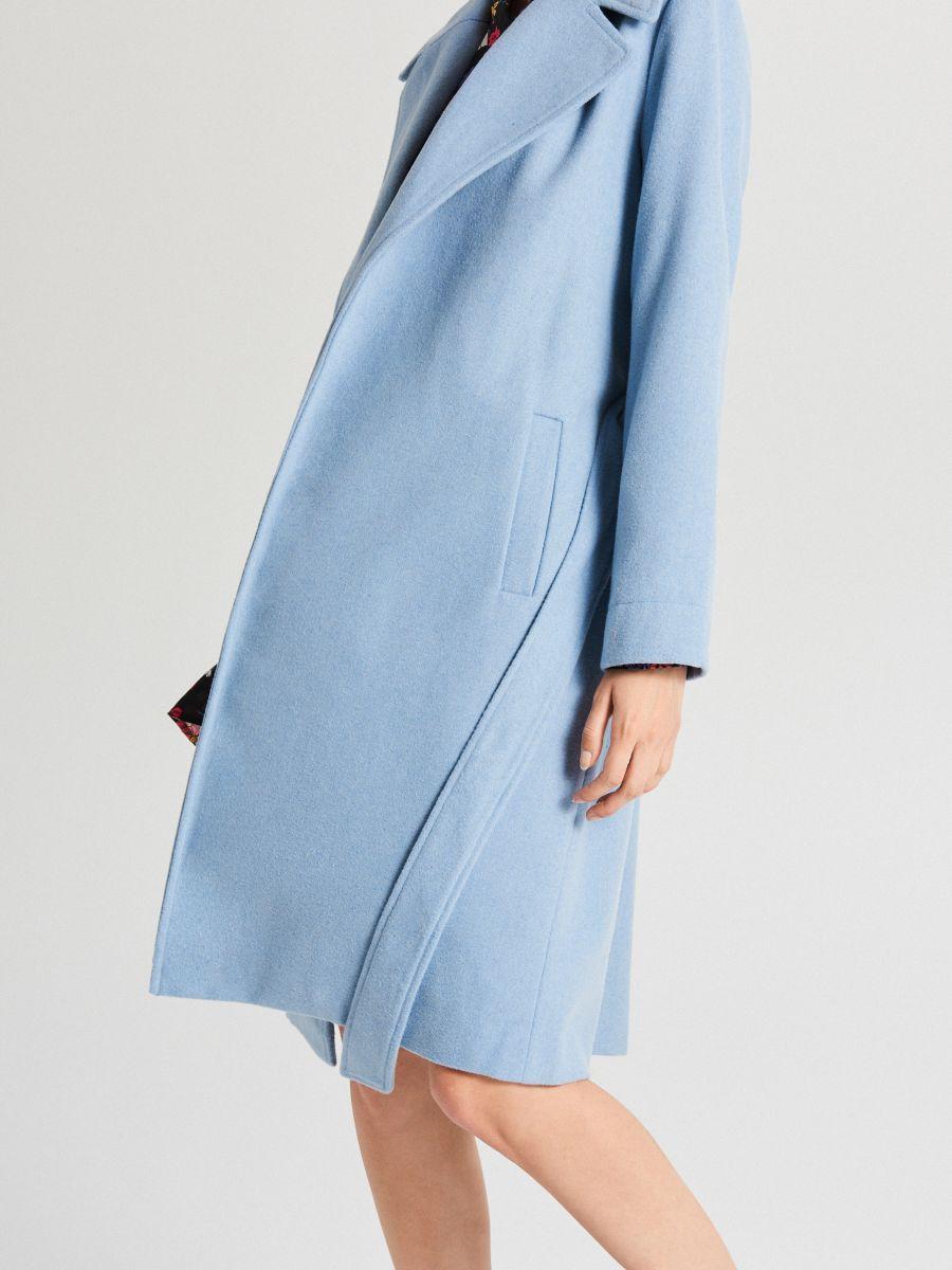Классическое полушерстяное пальто - голубой - WB883-50X - Cropp - 7