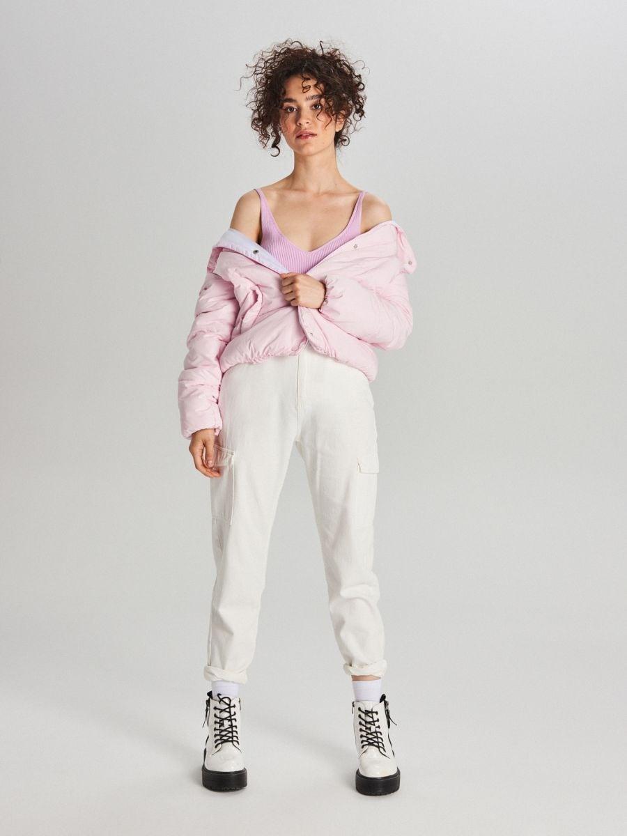Стеганая куртка с воротником - розовый - WG280-03X - Cropp - 6