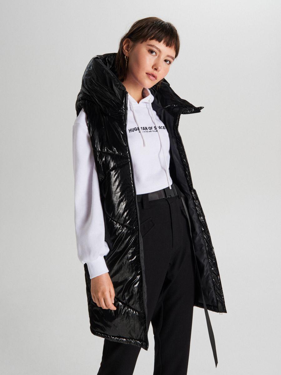 Удлиненный жилет из ткани с виниловым покрытием - черный - WG291-99X - Cropp - 3