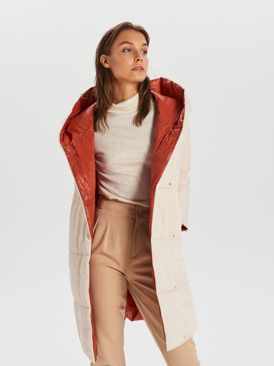 Стеганое пальто с капюшоном - кремовый - WG304-01X - Cropp - 1