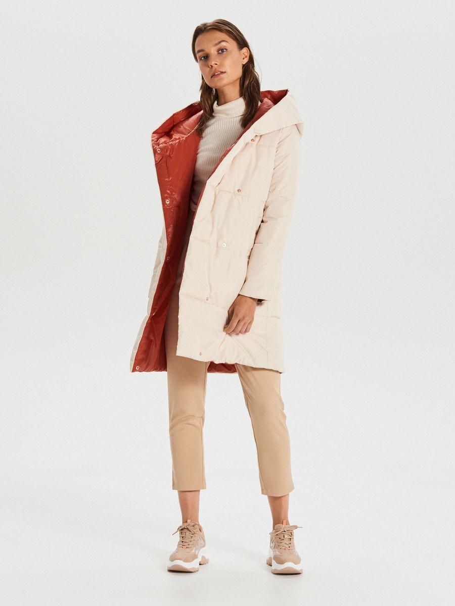 Стеганое пальто с капюшоном - кремовый - WG304-01X - Cropp - 2
