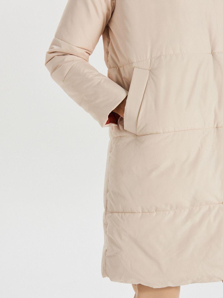 Стеганое пальто с капюшоном - кремовый - WG304-01X - Cropp - 5
