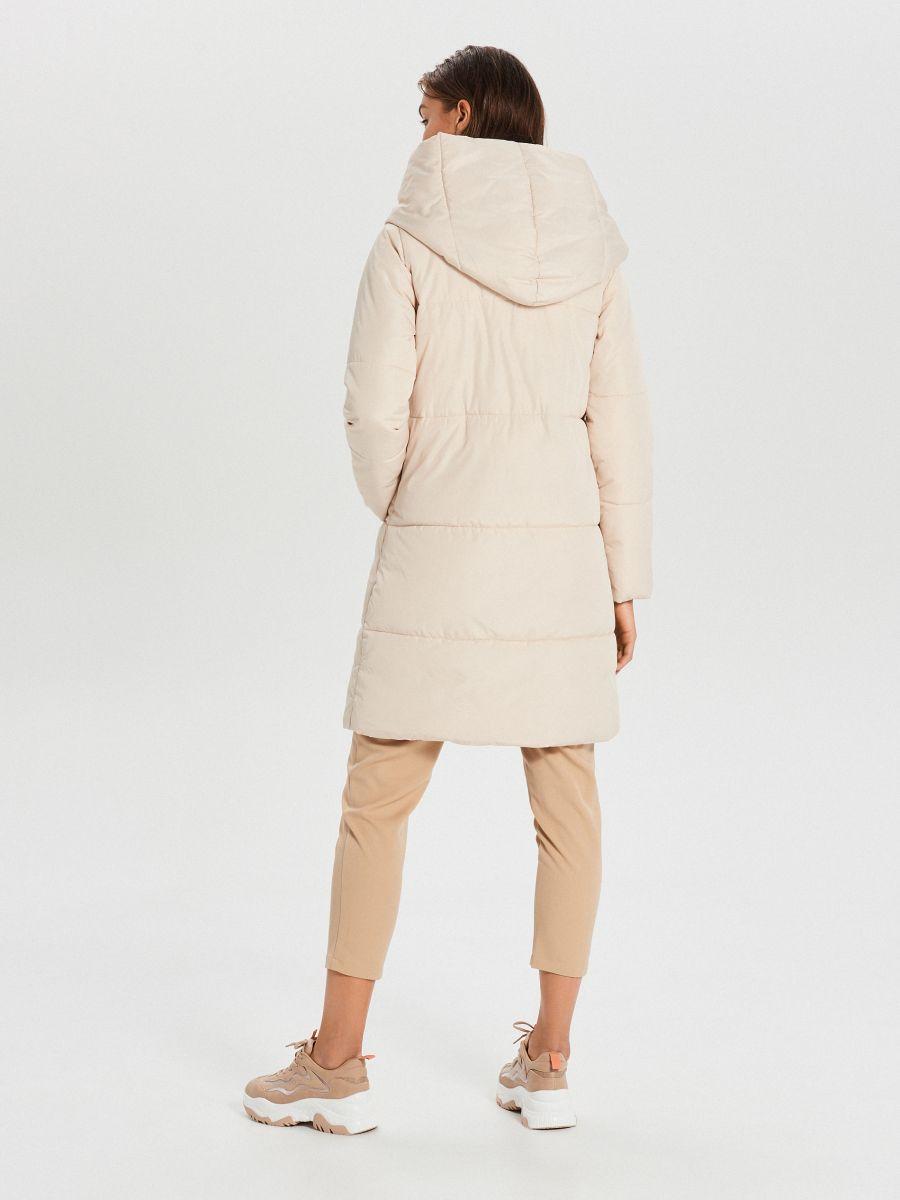 Стеганое пальто с капюшоном - кремовый - WG304-01X - Cropp - 6