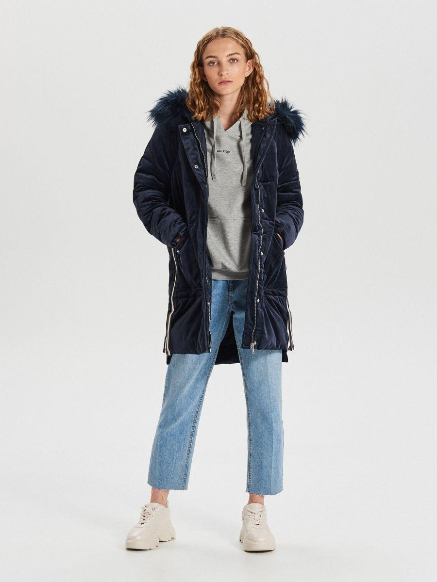 Теплое пальто с капюшоном - темно-синий - WG316-59X - Cropp - 2