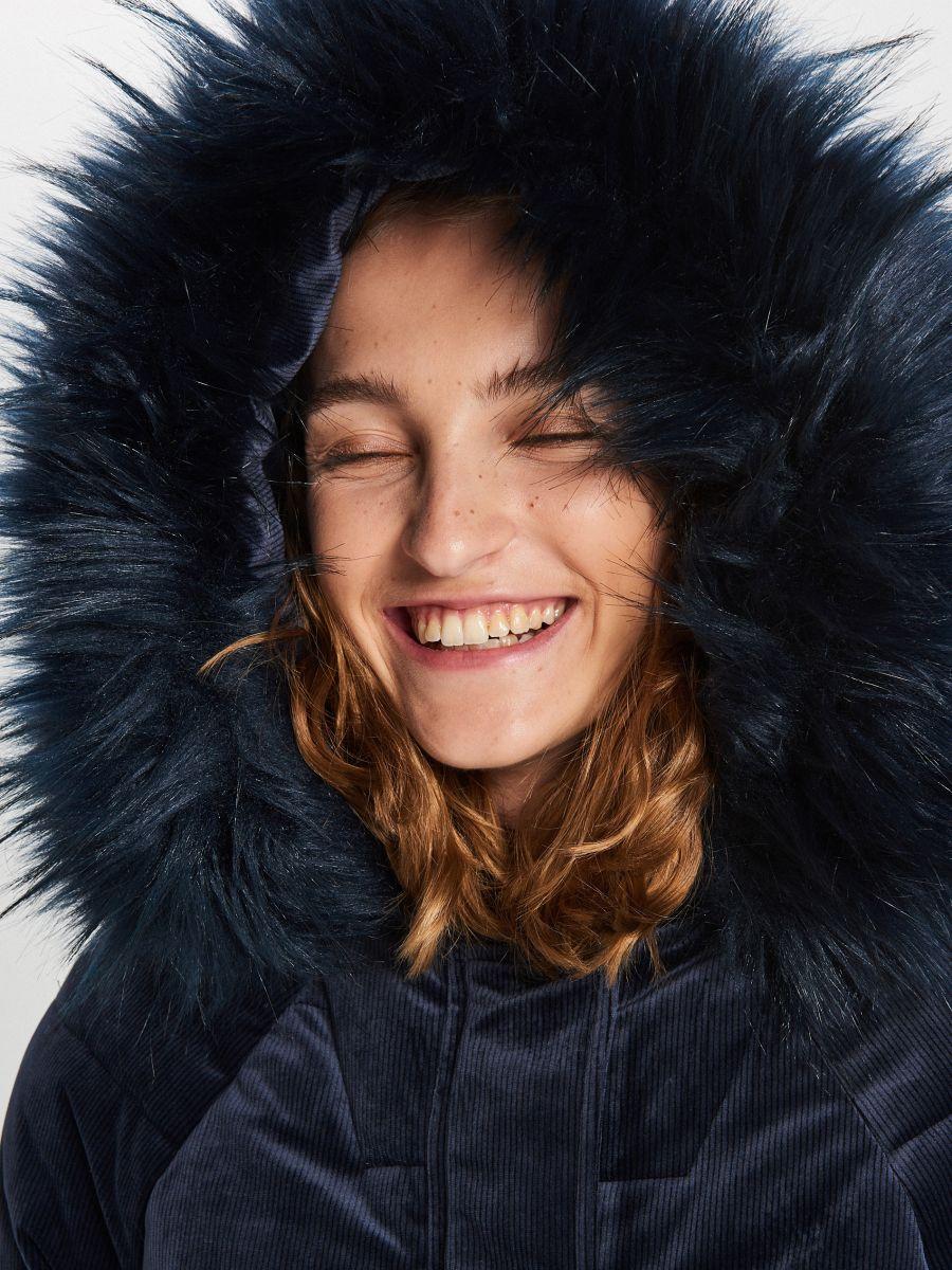 Теплое пальто с капюшоном - темно-синий - WG316-59X - Cropp - 3