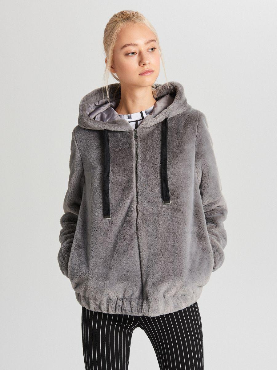 Пушистая куртка с капюшоном - светло-серый - WS155-09X - Cropp - 1