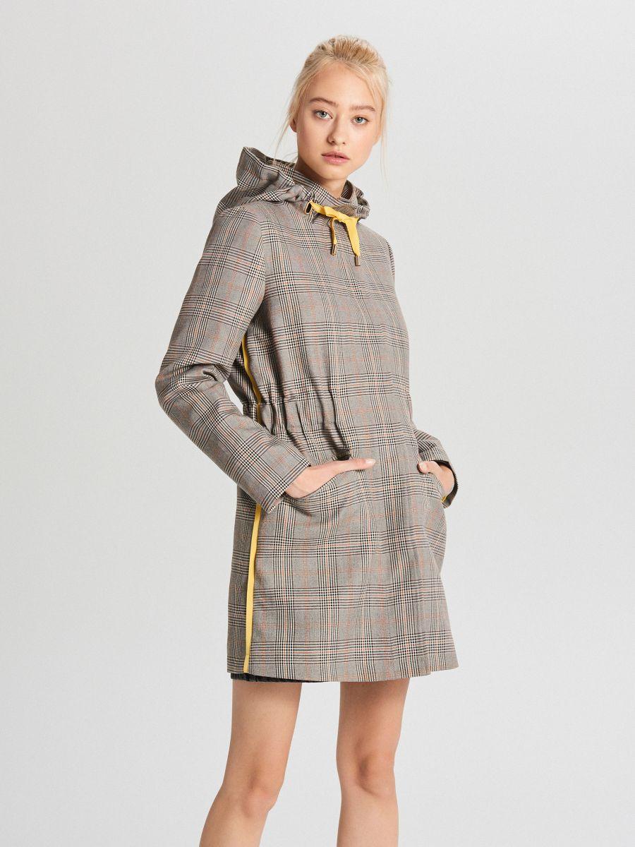 Пальто в клетку - бежевый - WS165-80X - Cropp - 1