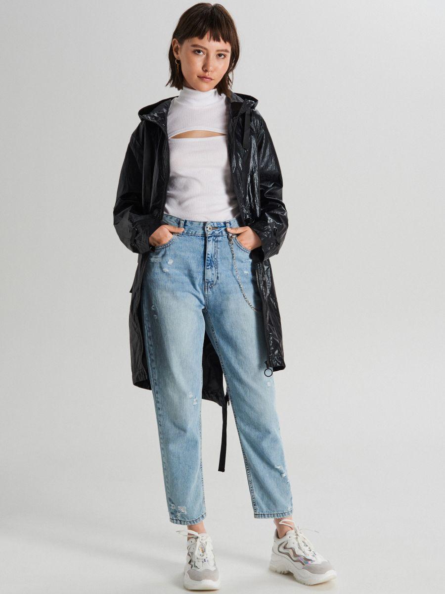 """Куртка oversize из ткани с эффектом """"металлик"""" - черный - WS166-99X - Cropp - 2"""