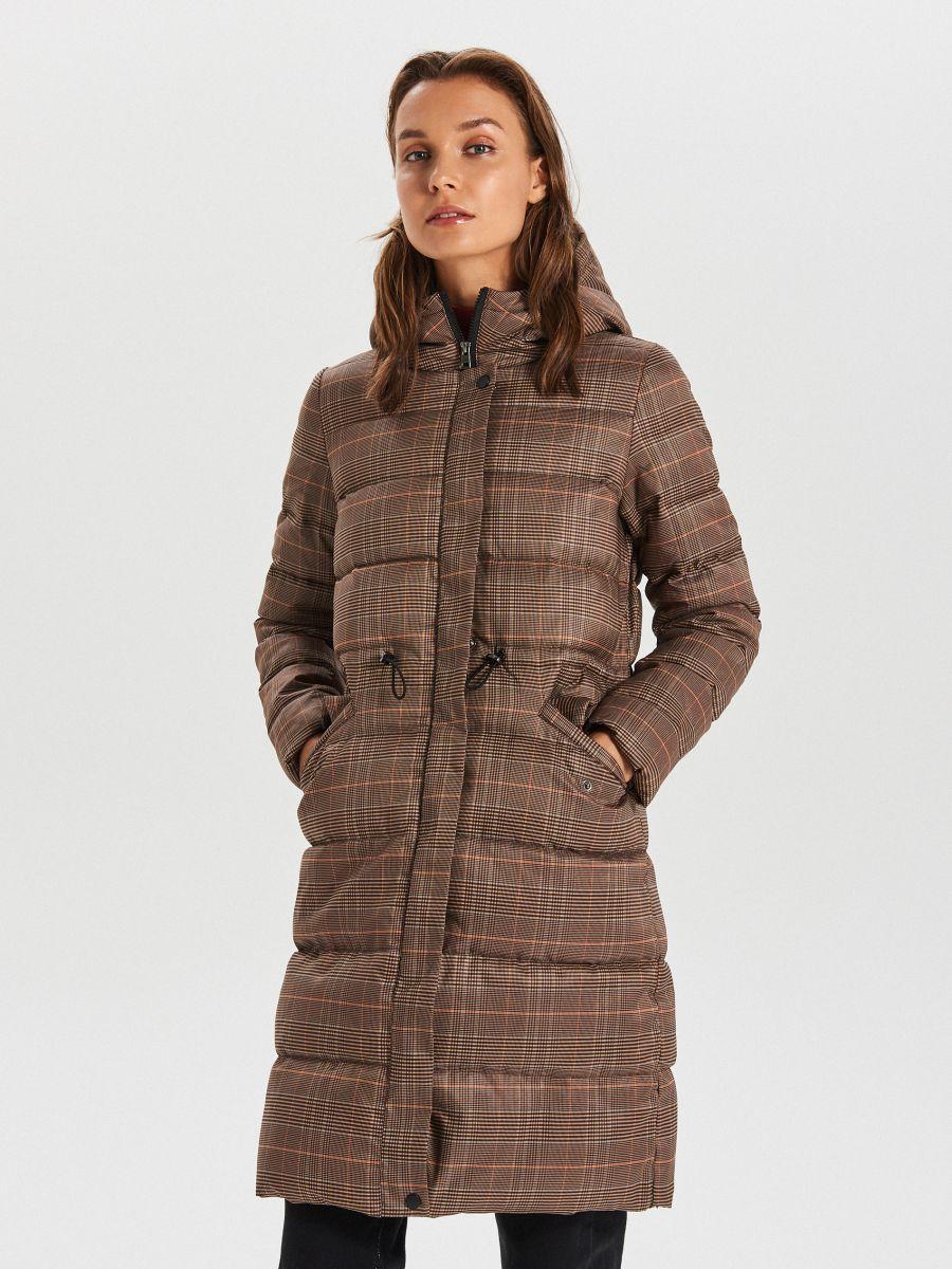 Стеганое пальто в клетку - бежевый - WS170-08X - Cropp - 1