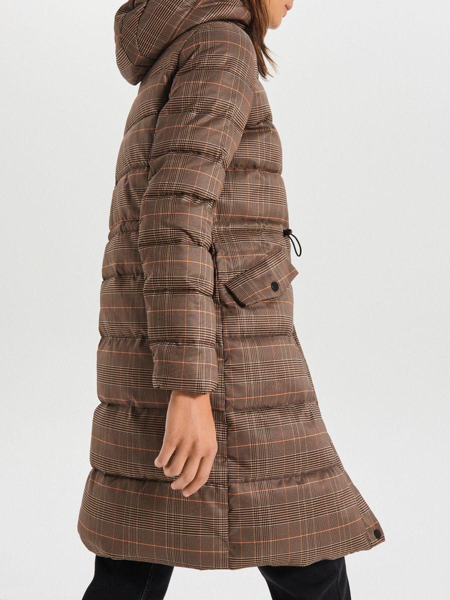 Стеганое пальто в клетку - бежевый - WS170-08X - Cropp - 4