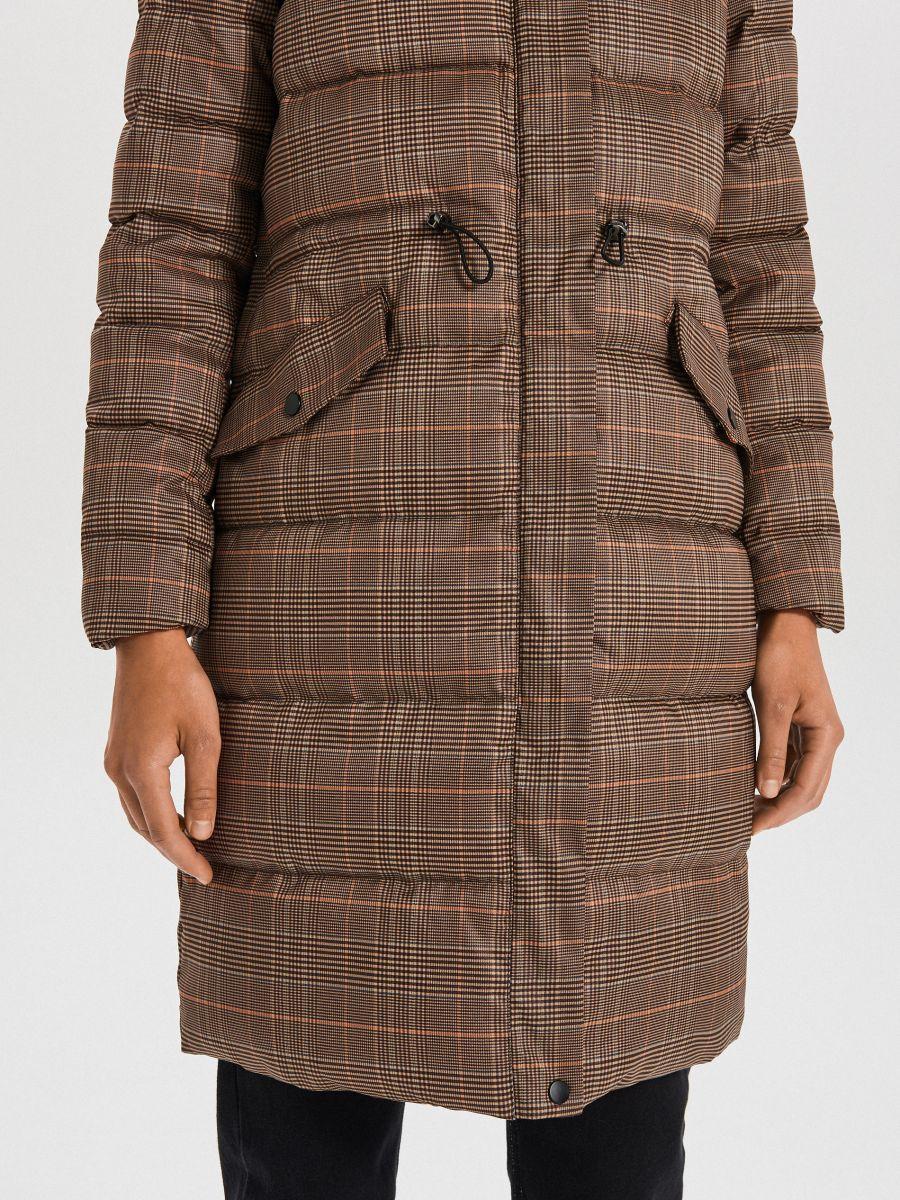 Стеганое пальто в клетку - бежевый - WS170-08X - Cropp - 5