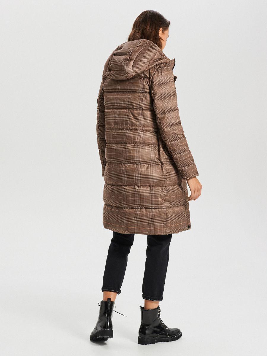 Стеганое пальто в клетку - бежевый - WS170-08X - Cropp - 6