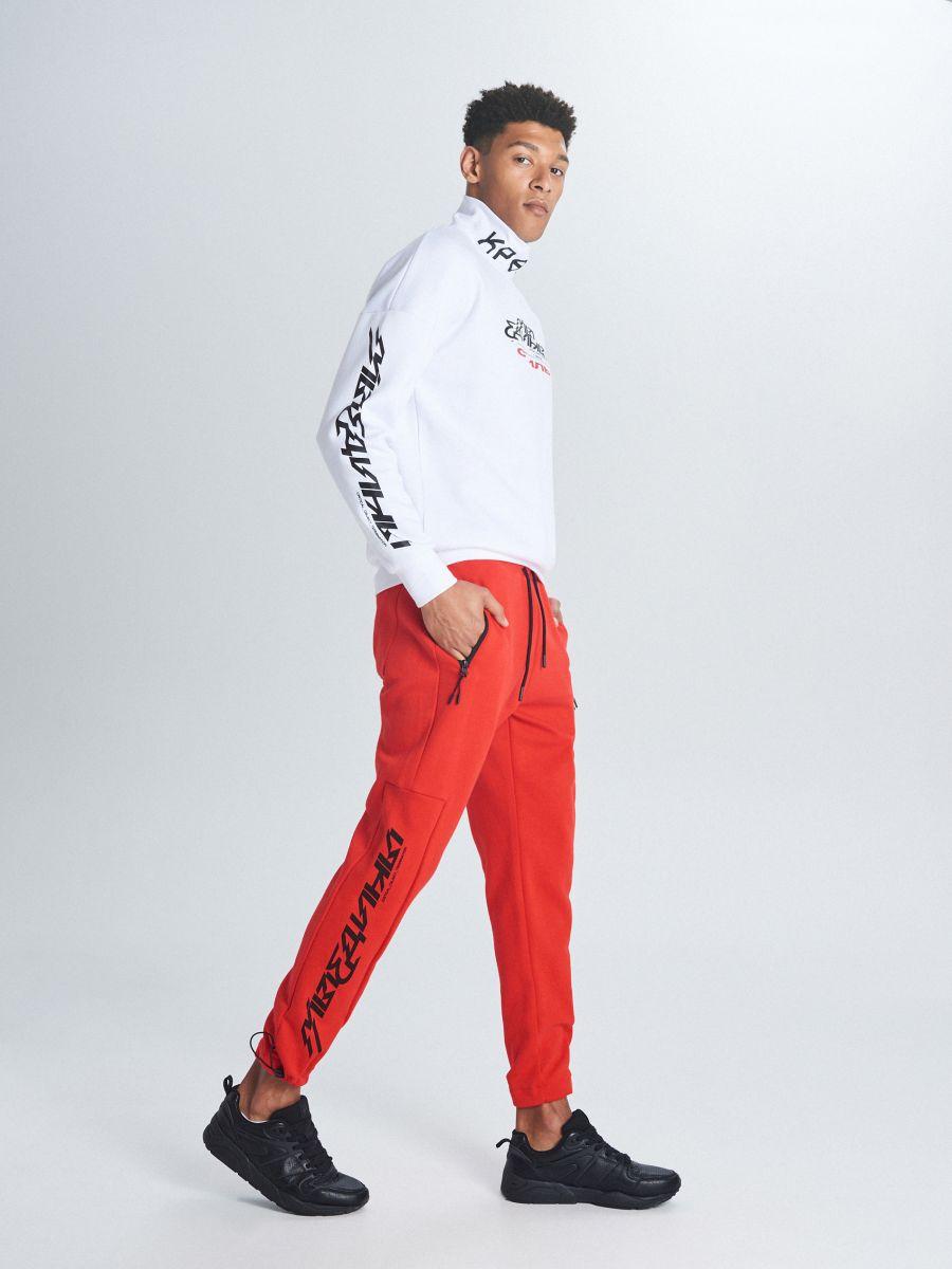 Утепленные джинсовые брюки - красный - WW364-33X - Cropp - 1