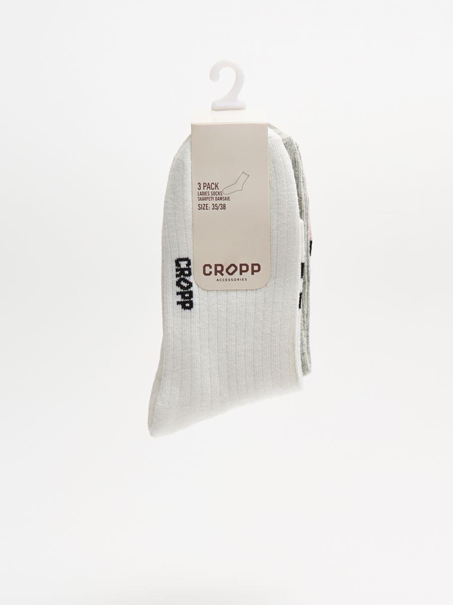 Тройная упаковка носков - белый - WX974-00X - Cropp - 2
