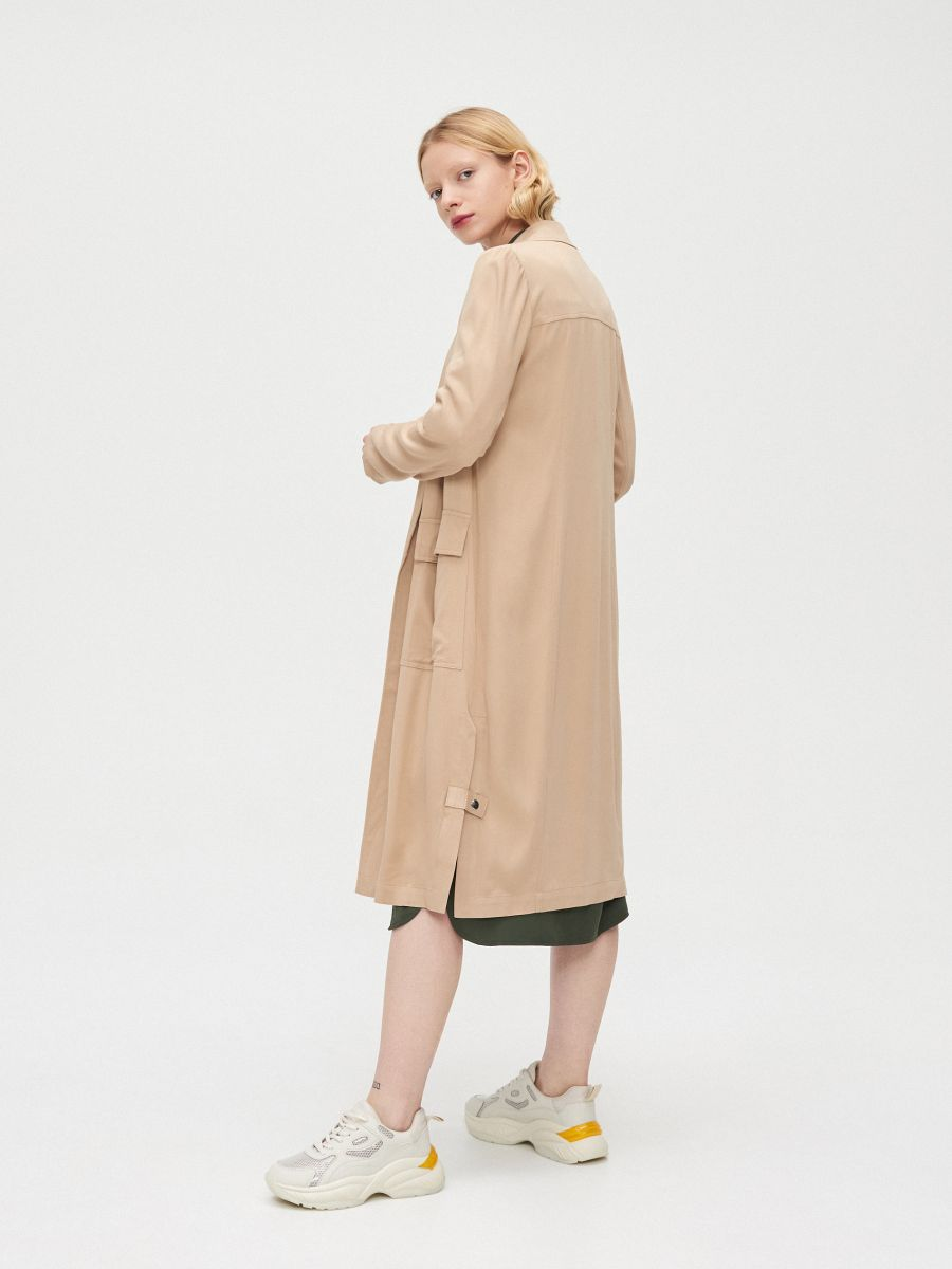Длинное пальто - бежевый - XL556-08X - Cropp - 2