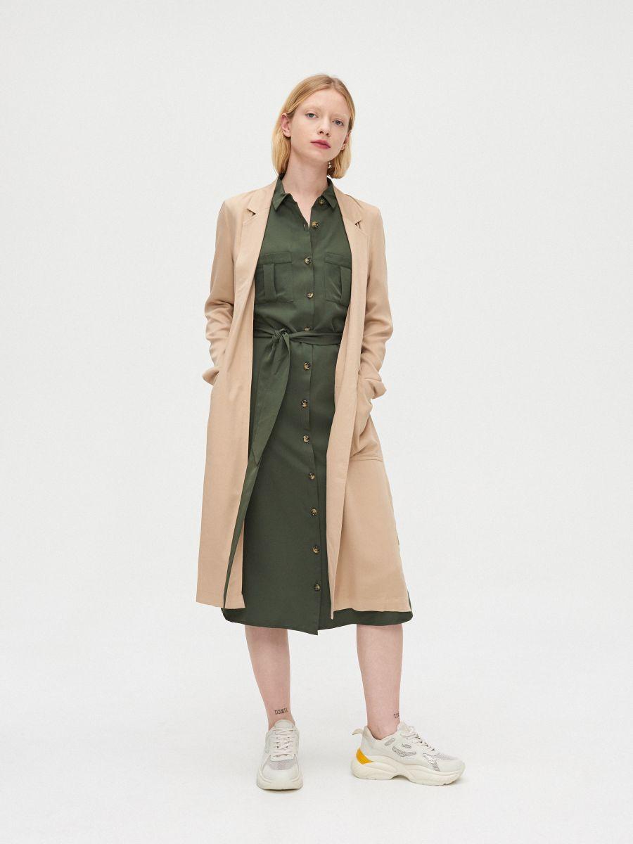 Длинное пальто - бежевый - XL556-08X - Cropp - 3