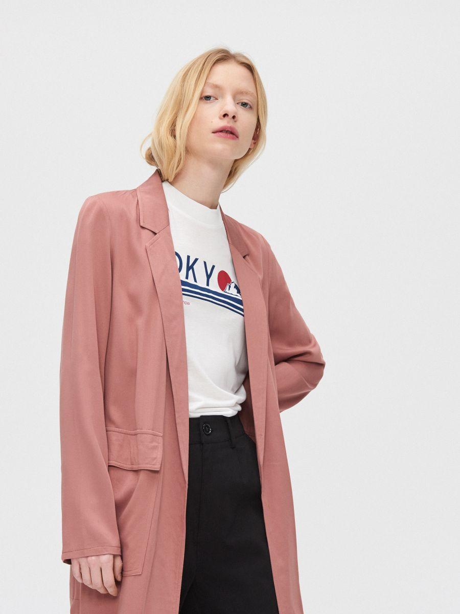 Длинное пальто - розовый - XL556-39X - Cropp - 3