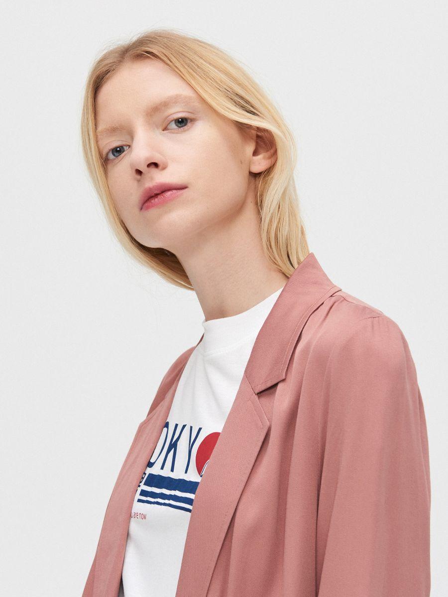 Длинное пальто - розовый - XL556-39X - Cropp - 4