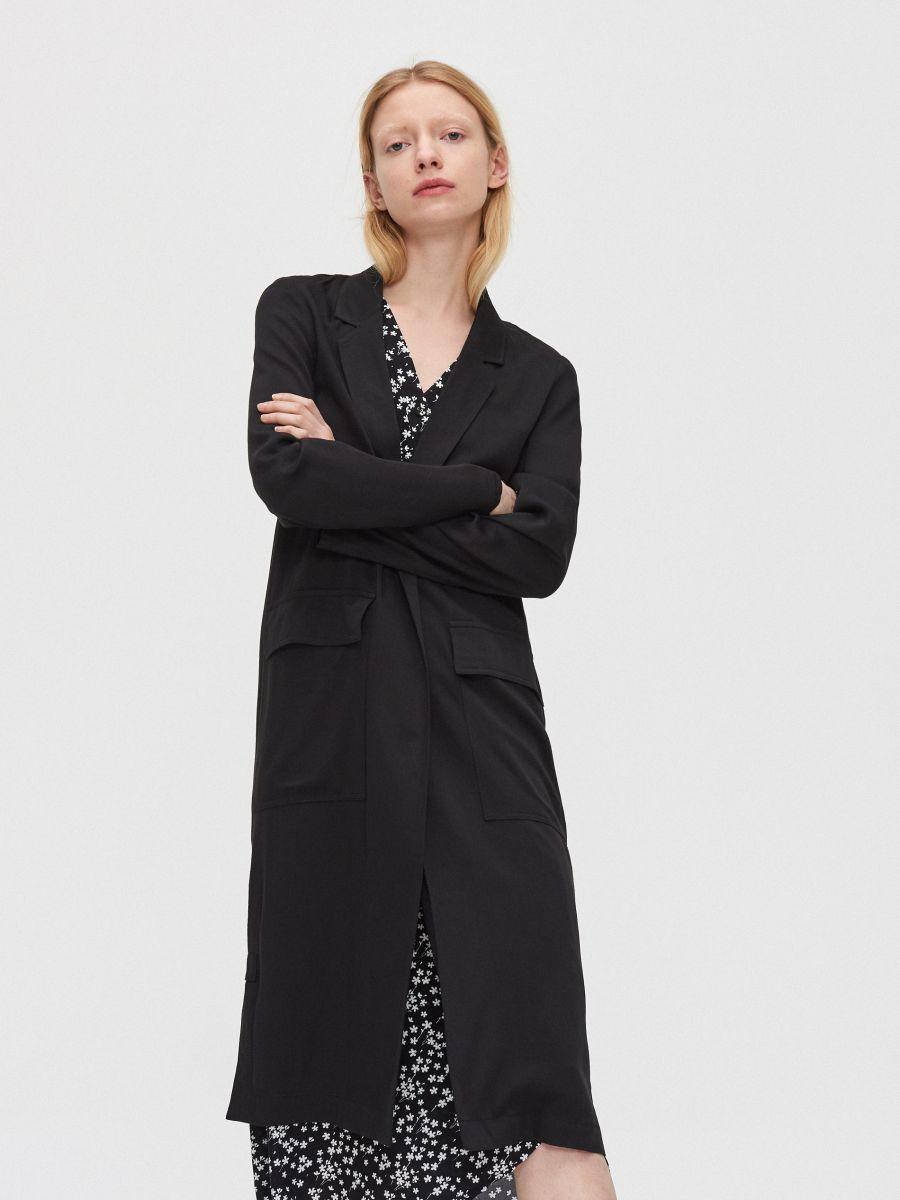 Длинное пальто - черный - XL556-99X - Cropp - 2