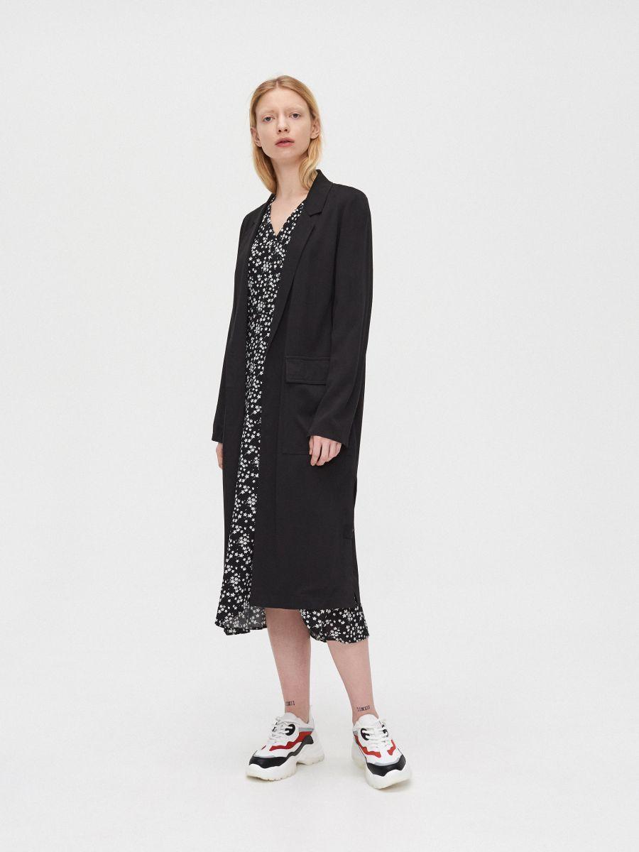 Длинное пальто - черный - XL556-99X - Cropp - 3