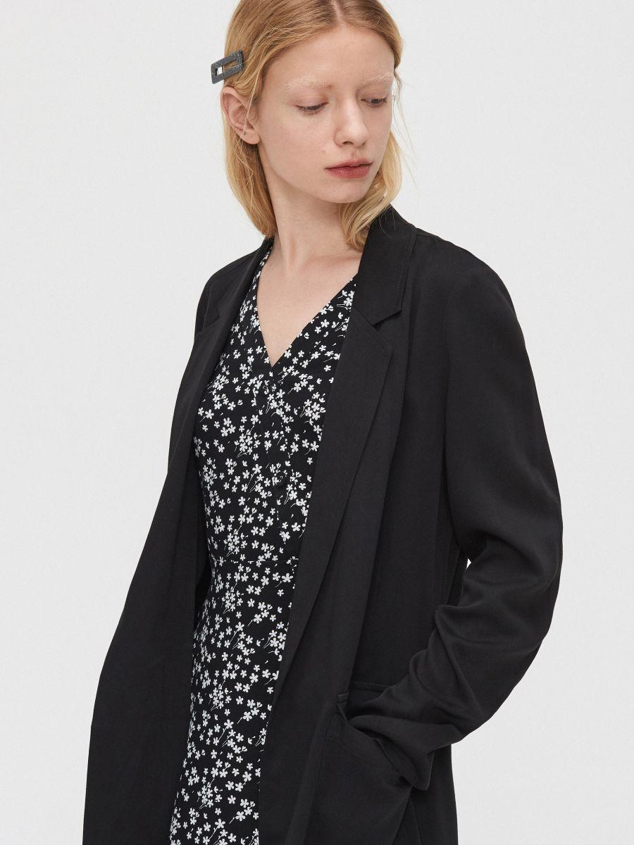 Длинное пальто - черный - XL556-99X - Cropp - 4