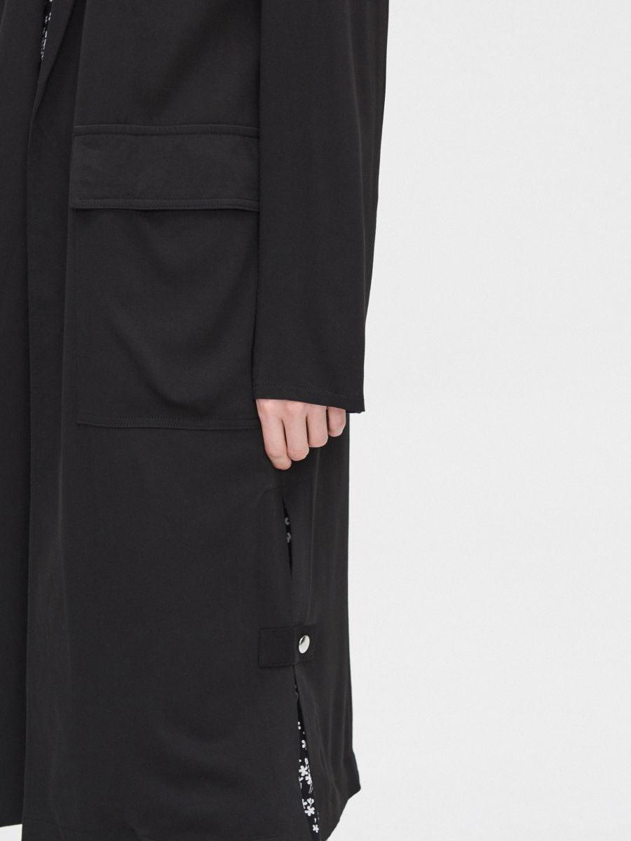 Длинное пальто - черный - XL556-99X - Cropp - 6