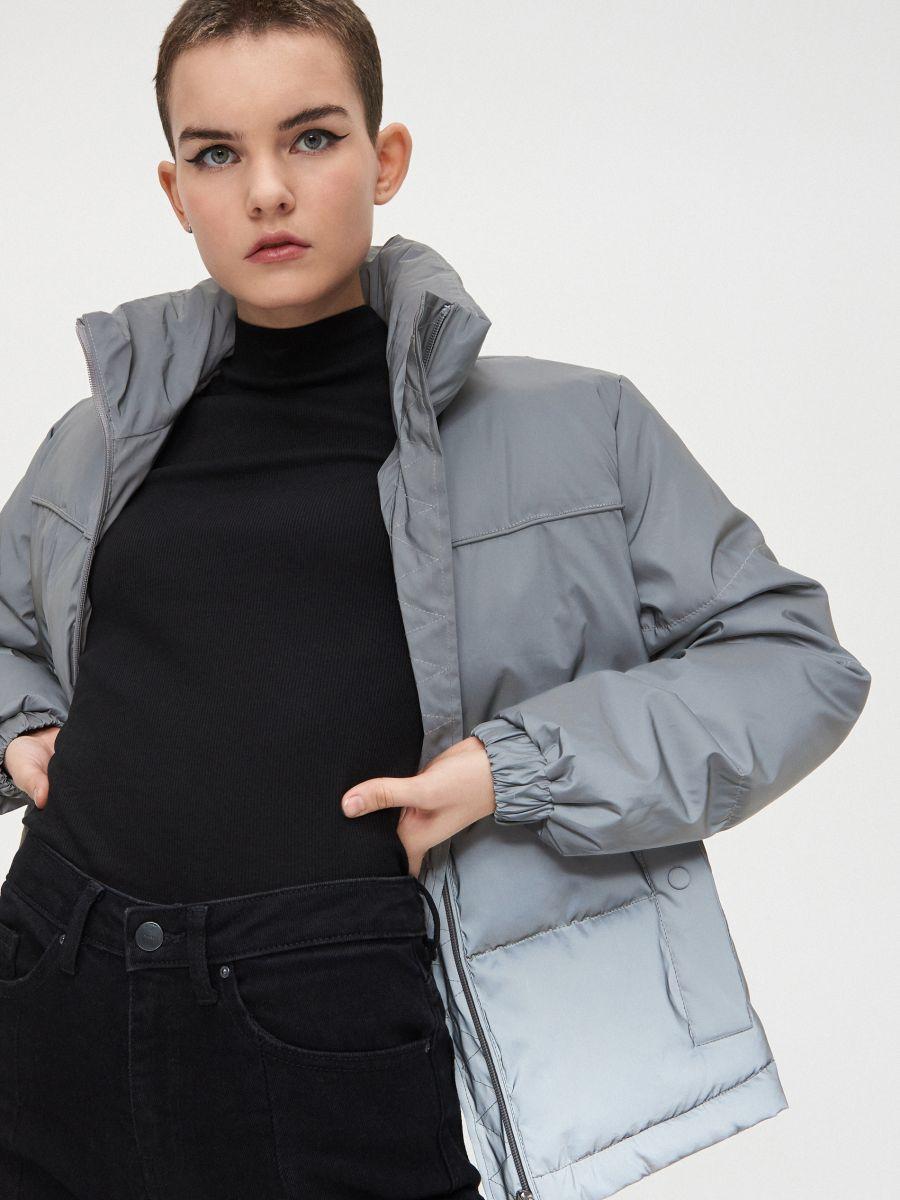 Объемная куртка - серый - XL604-90X - Cropp - 1