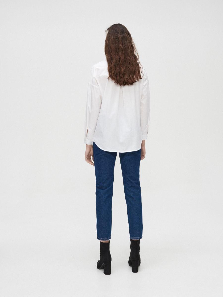 Гладкая хлопковая рубашка - белый - YD489-00X - Cropp - 4
