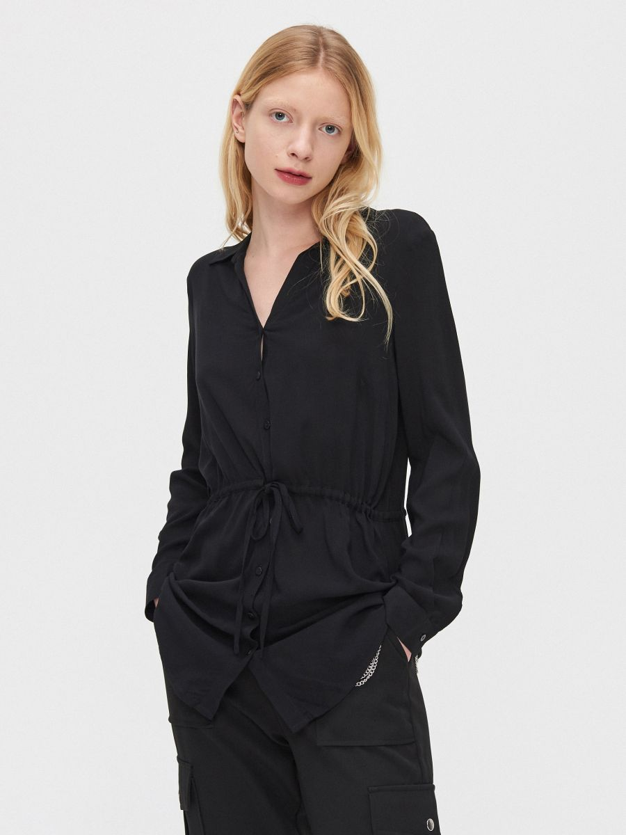 Блузка с завязками - черный - YI642-99X - Cropp - 1