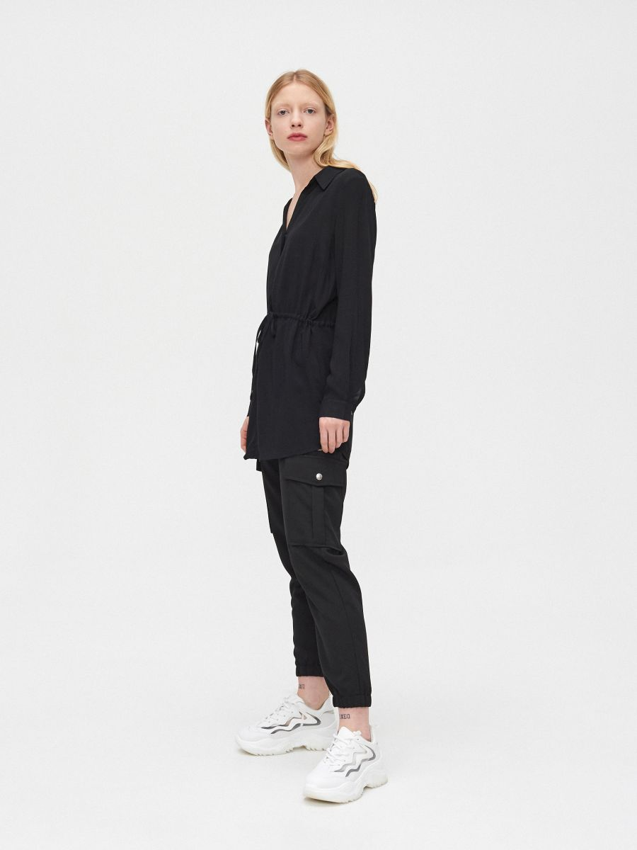 Блузка с завязками - черный - YI642-99X - Cropp - 3