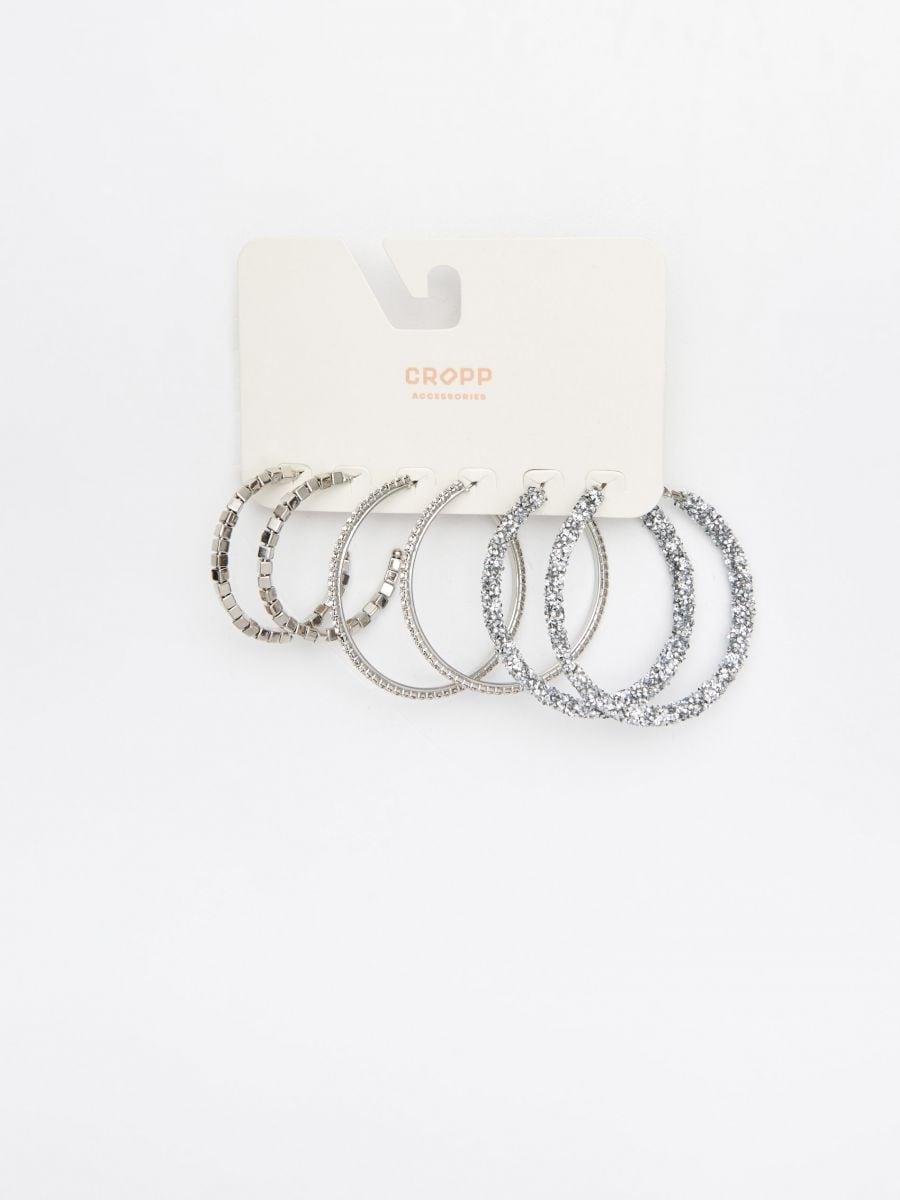 Набор серег-колец серебристого цвета  - серебристый - YO875-SLV - Cropp - 2