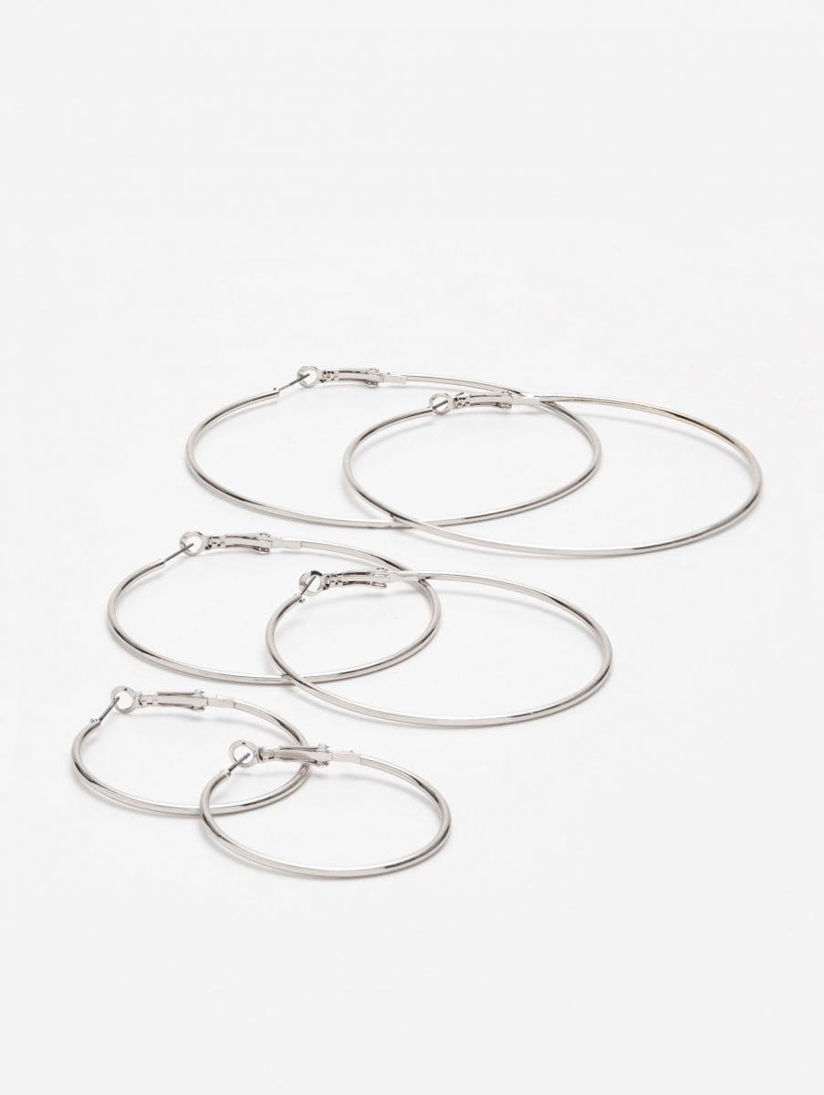 Набор серег-колец - серебристый - YO876-SLV - Cropp - 1