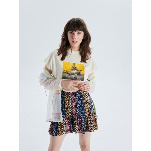 Мини-юбка с цветочным узором