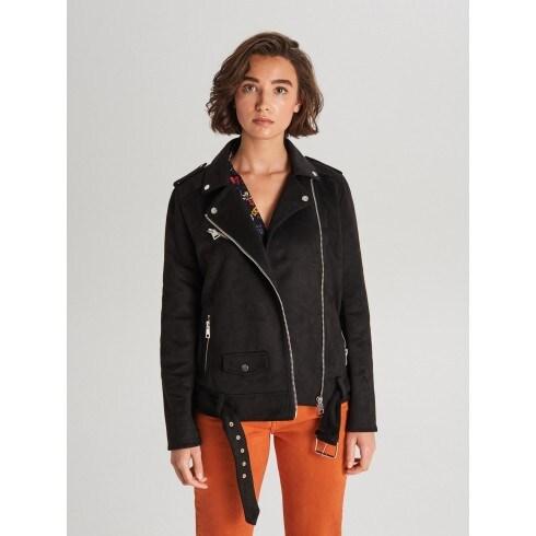 Замшевая байкерская куртка с ремнем